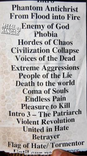 Kreator's setlist