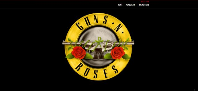 guns n' roses website with old logo