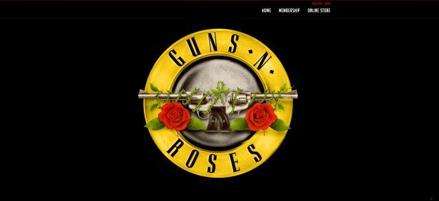 guns n' roses website with old logo
