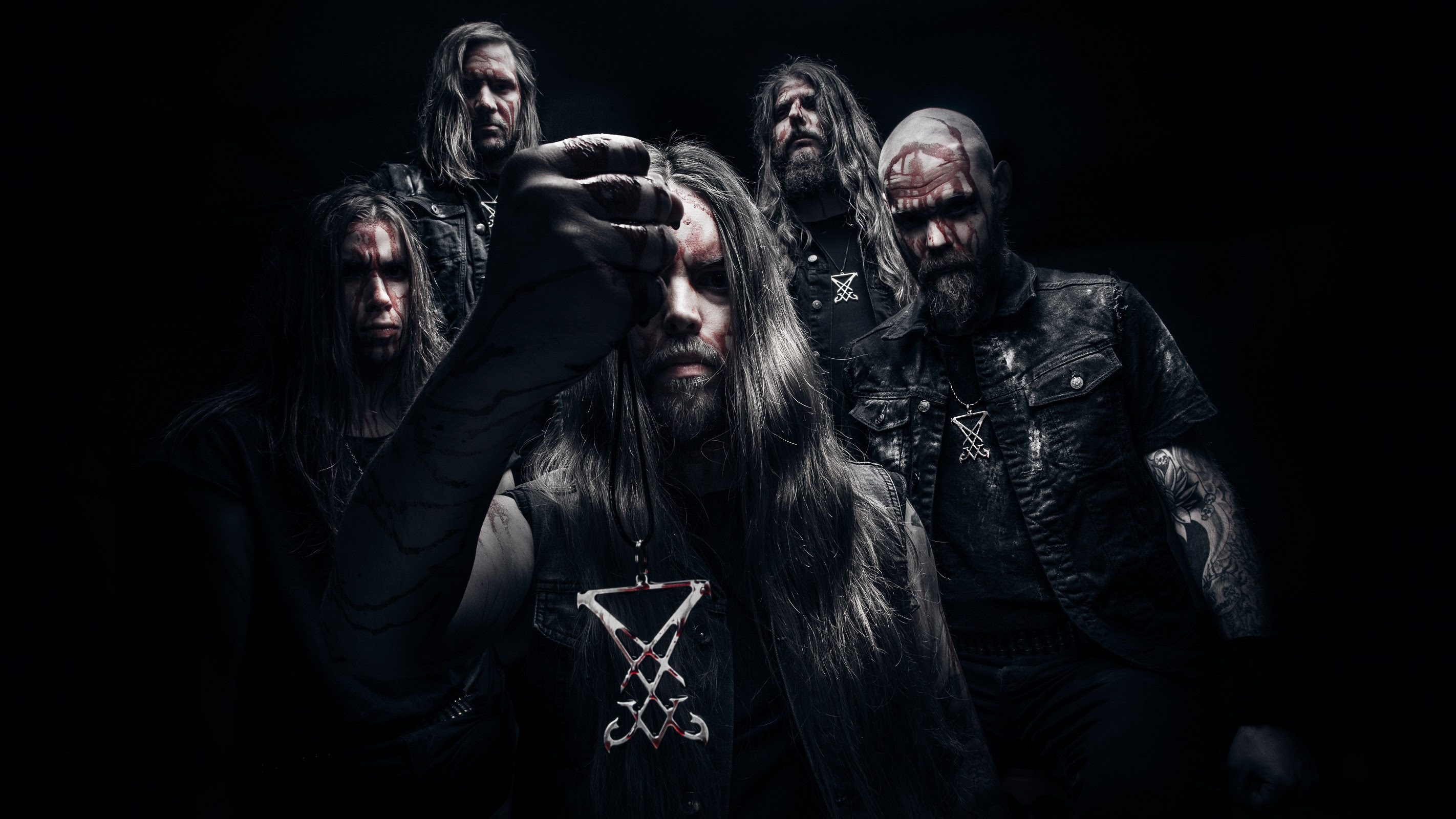 Left to right:Christoffer Andersson (drums), Kristian Roupe (guitars), Thomas Clifford (vocals), Benny Åkeson (bass), Fredrik Nilsson (guitars)